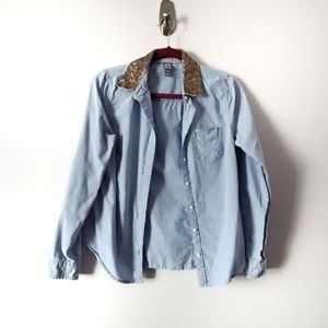 JCP Chambray Gold Sequin Top